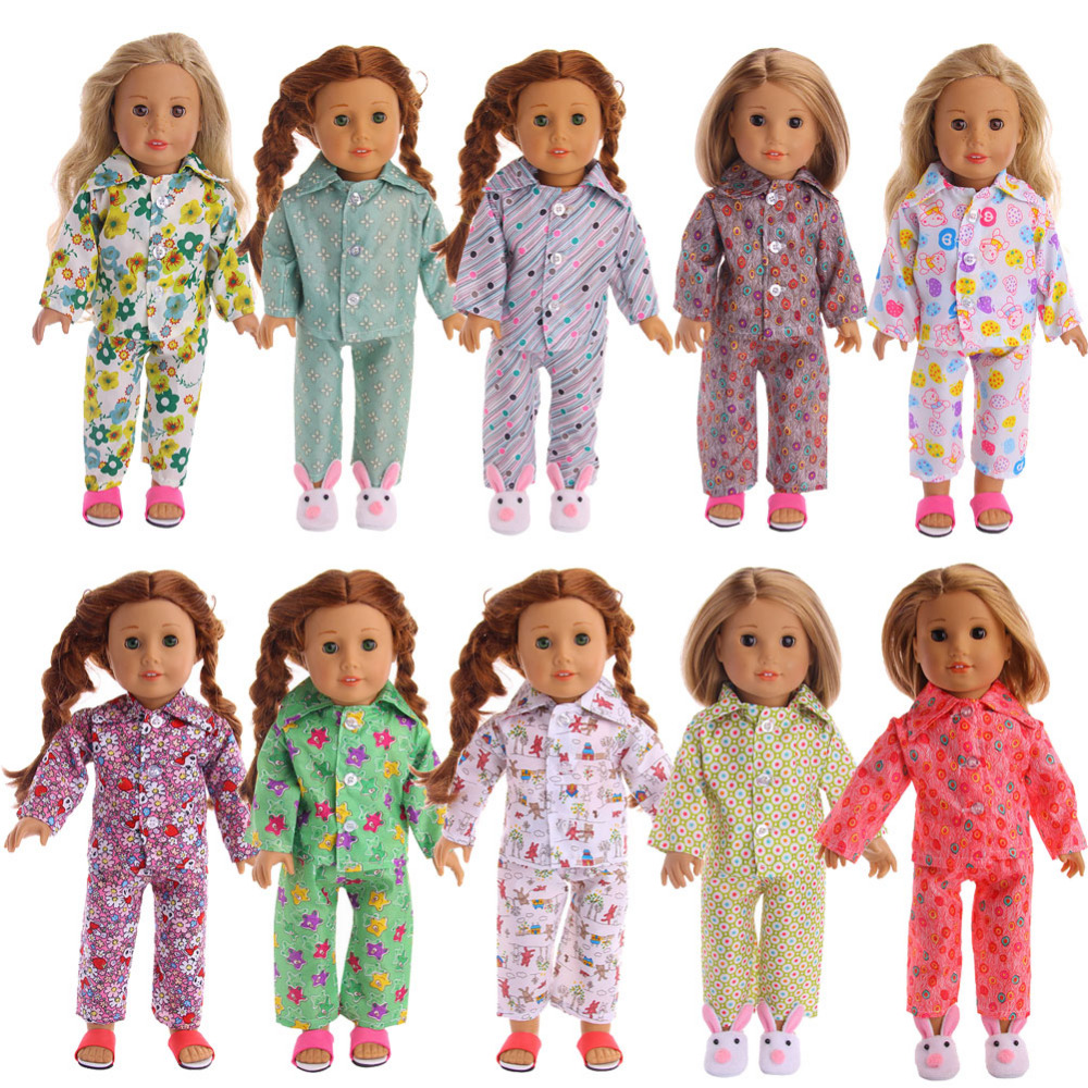 LUCKDOLL10Sets Of Different PatternsPajamas Fit 18 Inch American 43cm Baby Doll Clothes Accessories,Girls Toys,Generation,Gift