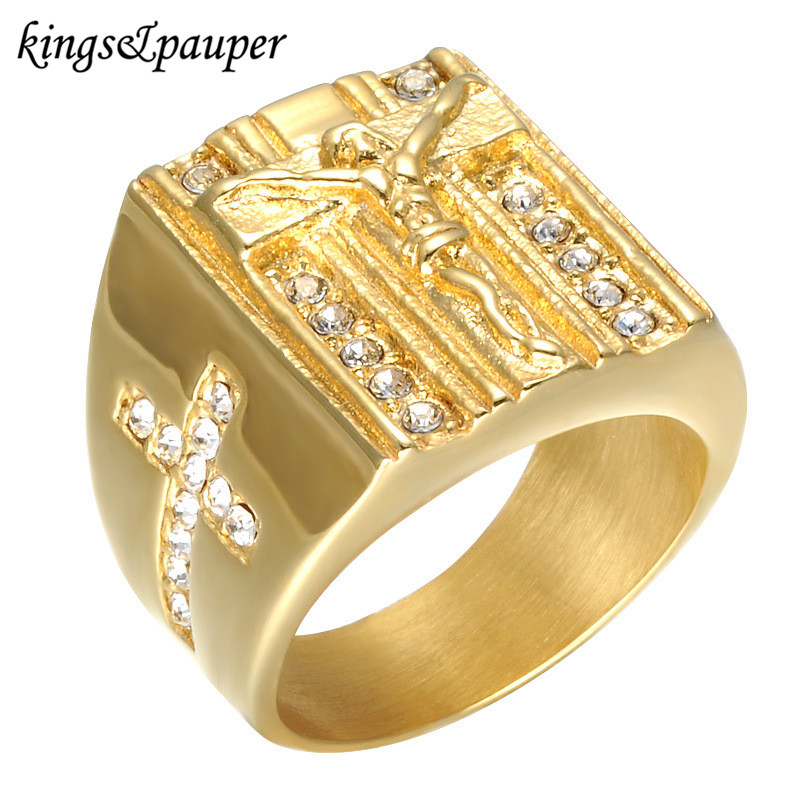 Stainless Steel Christian Jesus Holy Cross Signet Ring Hip Hop Prayer INRI Cub Zirconia Iced Out Finger Gold-color Wedding Ring