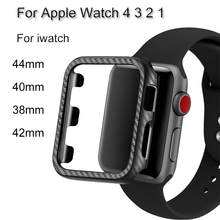 Silm Carbon Fiber Lines PC Watch Case For Apple Watch 4 3 2 1 Protective Frame Cover For iwatch 44mm 40mm 38mm 42mm Bumper Shell цена и фото