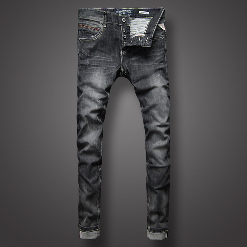 Italian Style Retro Mens   Jeans   Black Color Slim Fit Denim   Jeans   Men Buttons Pants Brand Clothing Fashion Skinny   Jeans   Size 29-38