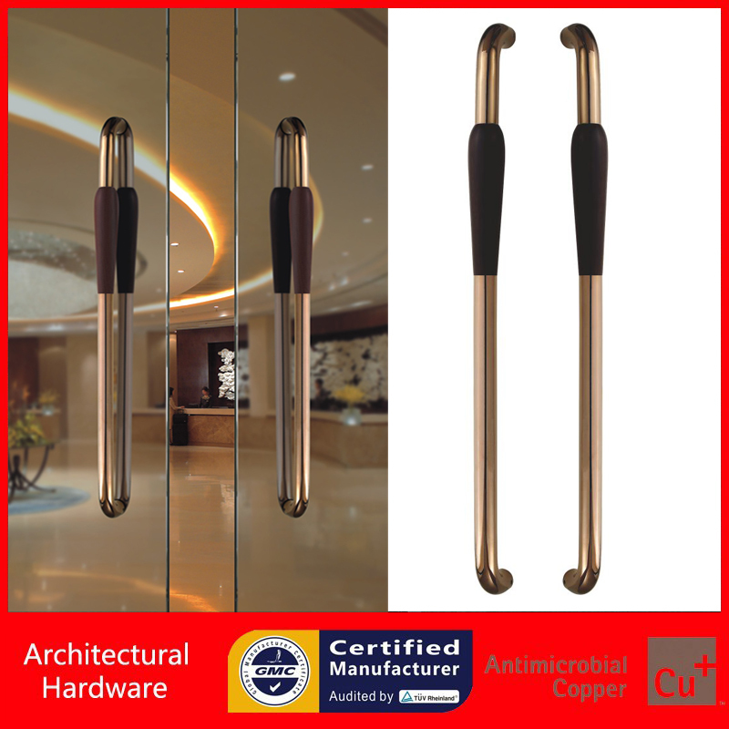 Entrance Door Handle Solid Wood Pull Handles Made With 304 Stainless Steel For Glass/Timber/Metal Doors PA-233-46*800mm antimicrobial environmental wood pull handle pa 710 entrance door handles for entry glass shop store doors