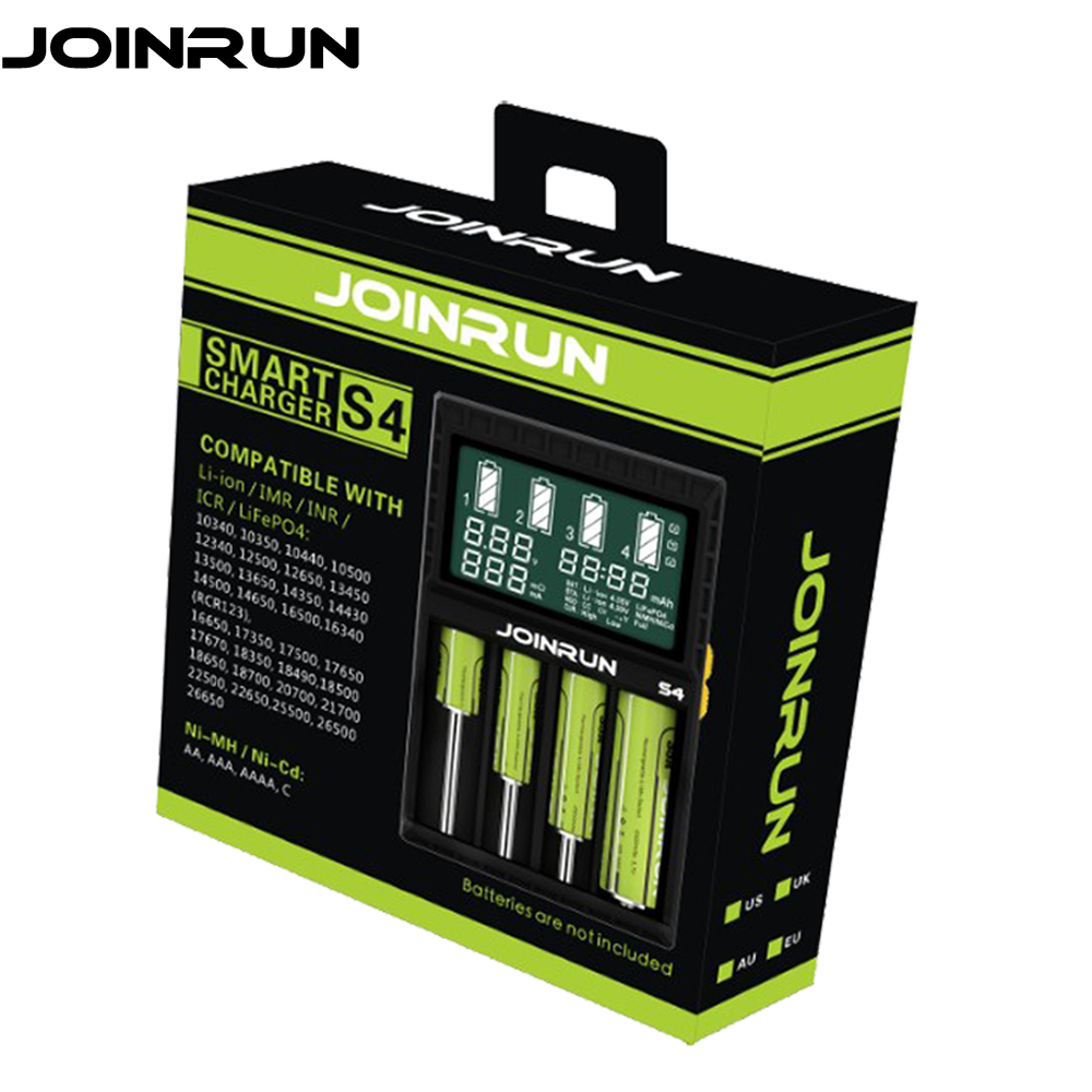 где купить Joinrun S4 18650 Battery charger Green LCD Screen Smart Charger For Li-ion 18650 14500 16340 26650 AAA AA DC 12V Battery Charger по лучшей цене