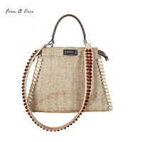 Beach Straw Bags Women Appliques Beach Bag Snakeskin Handbags Summer 2017 Vintage Python Pattern Crossbody Bag