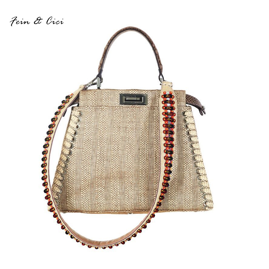 Beach Straw Bags Women appliques beach Bag Snakeskin Handbags Summer 2017 Vintage Python Pattern Crossbody bag