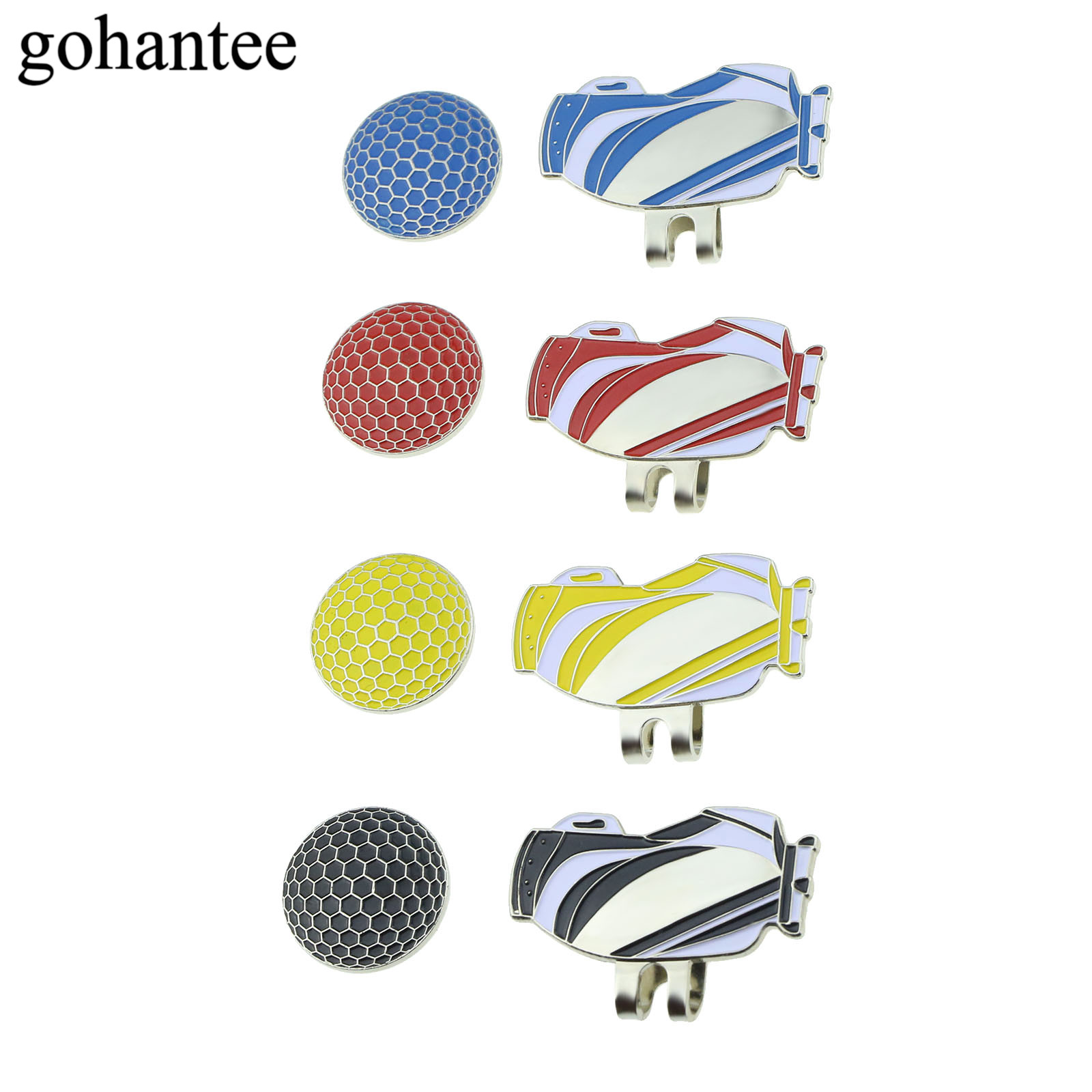 Gohantee Portable Golf Bag Pattern Alloy Golf Magnetic Balls Mark With Hat Visor Clip Golf Accessories 4 Colors Hat Decoration
