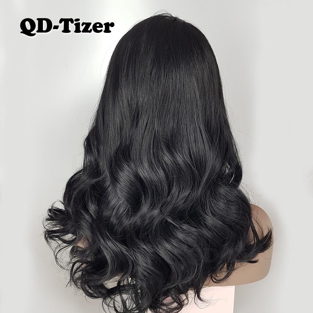 QD-Tizer Short Wavy Lace Front Wigs Glueless Wave Hair Wig Natural - Syntetiskt hår - Foto 4