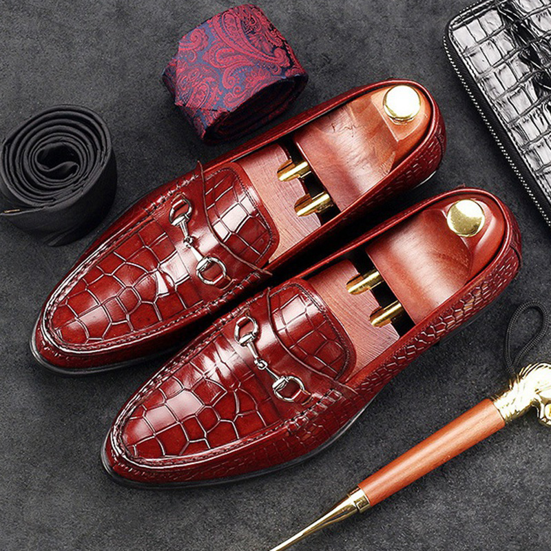 Luxury Round Toe Alligator Man Casual Shoes Genuine Leather Male Office Loafers British Designer Comfortable Men