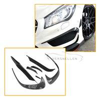 7 штук в комплекте для Mercedes W176 A250 A260 A45 2016 2017 Amg углеродного волокна передний бампер сплиттер Canards в полоску