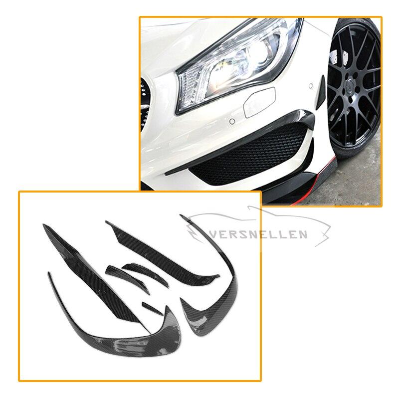 7 шт. в Набор для Mercedes W176 A250 A260 A45 2016 2017 Amg углеродного волокна передний бампер сплиттер Canards в полоску