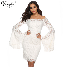 купить Sexy White Lace Summer Dress women Flare Sleeve Long sleeve Dress elegant Flare Sleeve casual vintage dresses Vestido clothes HL по цене 1198.41 рублей