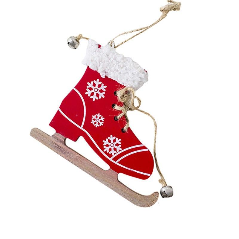 Magideal 2pcs Set Christmas Snowflake Wooden Sleds Boots Christmas Tree Hanging Decor Diamond