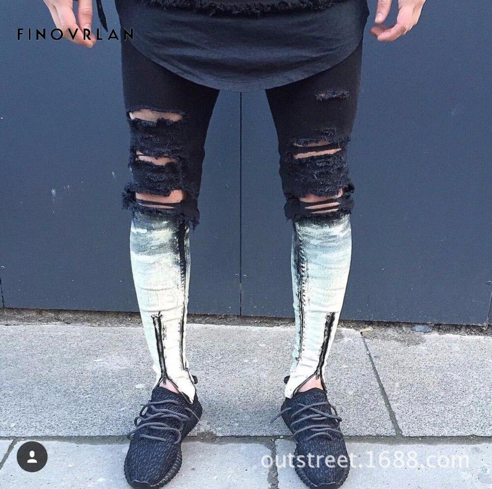 paint designer fog justin bieber kanye vintage black urban clothing ankle zipper skinny distressed ripped jeans men jean mejores fotos hechas en photoshop