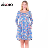ALSOTO Autumn Style Women Dress Fashion Casual Printing Round Neck Long Sleeves Loose Pleated Dresses Party