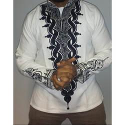 Богатая африканская ткань Специальное предложение Топ Мода полиэстер 2019 народная стиль воротник рубашка с длинными рукавами футболка