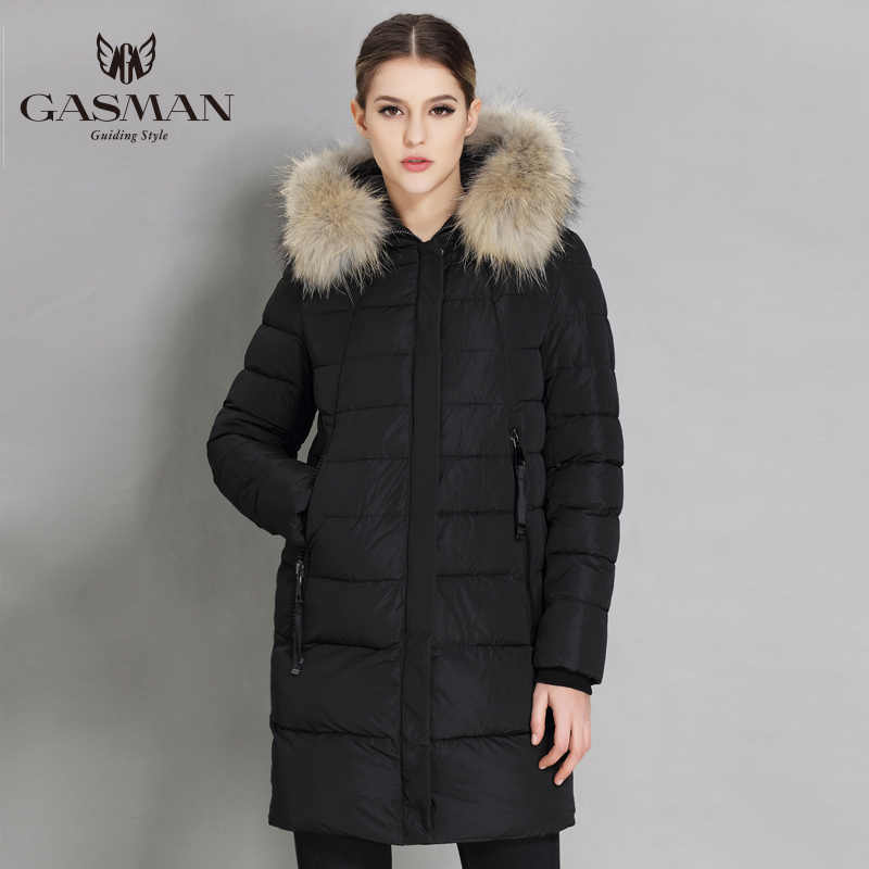 GASMAN 2019 Winter Women Down Jacket Brand Hooded Down Parka For Women Female Overcoat With Natural Fur Collar Plus Size 5XL 6XL