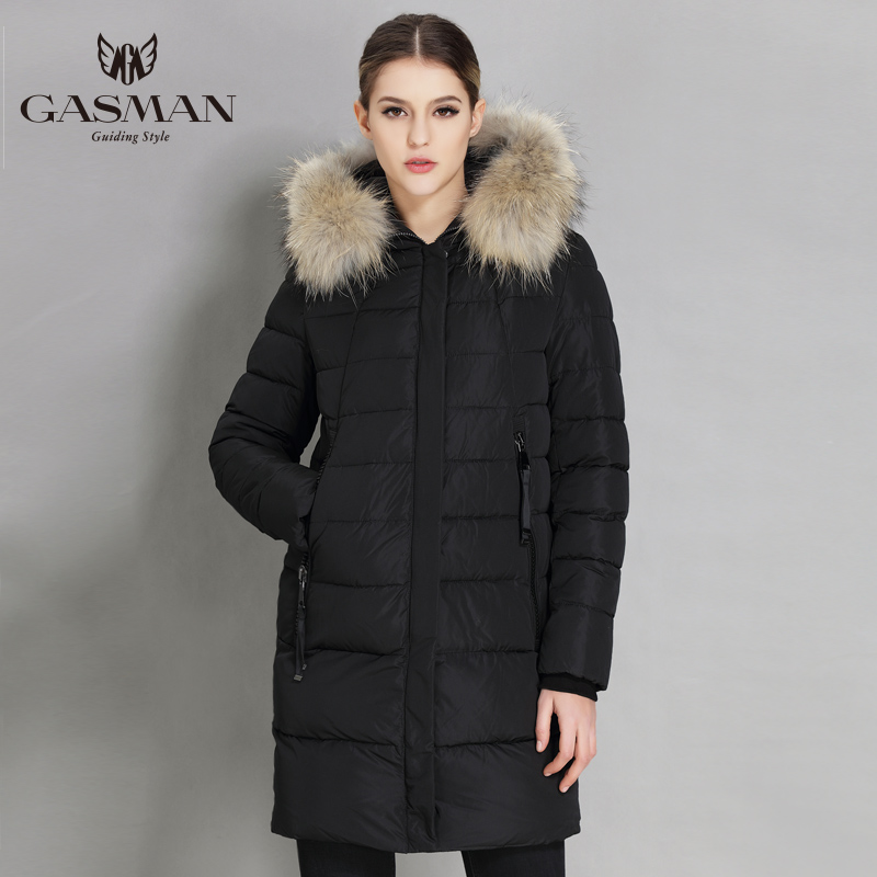 GASMAN 2018 Winter Women Down Jacket Brand Hooded Down   Parka   For Women Female Overcoat With Natural Fur Collar Plus Size 5XL 6XL