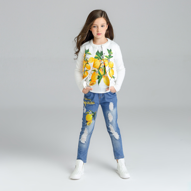 Lemon Pattern Girls Clothes 3pcs Kids Jackets+T shirts+jeans Clothes Children clothing sets 2017 tracksuit 3 4 6 8 10 11 years