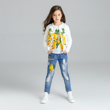 Lemon Pattern Girls Clothes 3pcs Kids Jackets+T-shirts+jeans Clothes Children clothing sets 2017 tracksuit 3 4 6 8 10 11 years