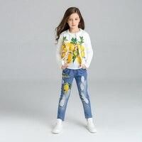 Limon Desen Kız Giysileri 3 adet Çocuk Ceket + T-shirt + kot Giysileri Çocuk giyim setleri 2017 eşofman 3 4 6 8 10 11 yıl