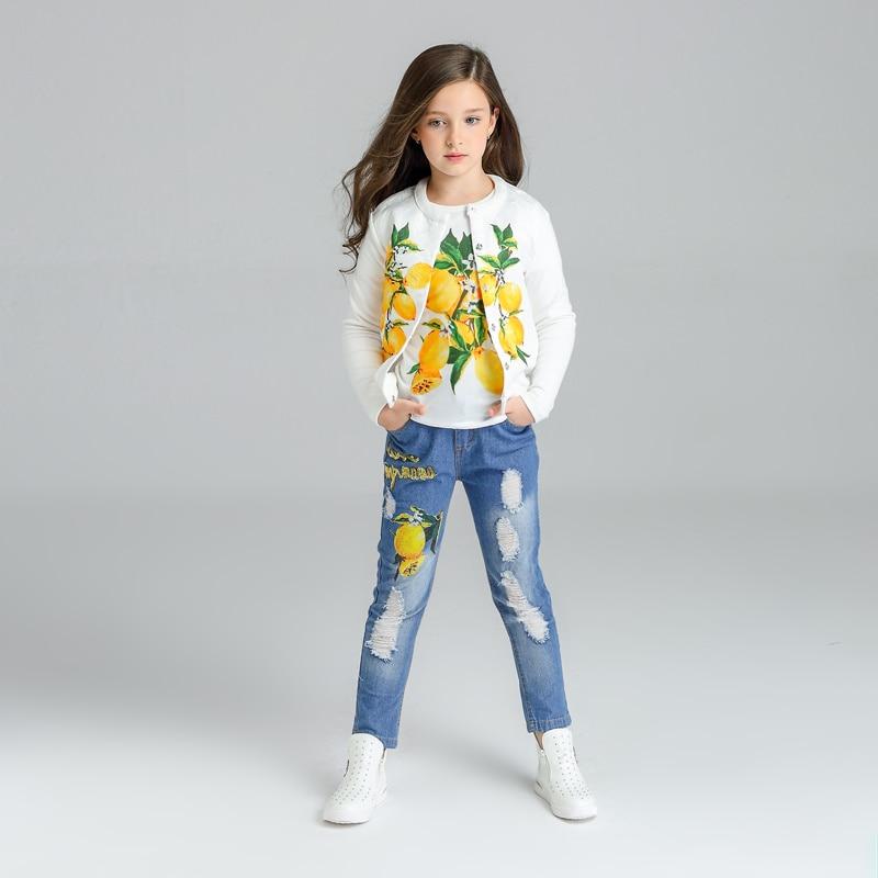 Motif citron Filles Vêtements 3 pièces Enfants Vestes + t-shirts + jeans Vêtements Enfants vêtements ensembles 2017 survêtement 3 4 6 8 10 11 ans