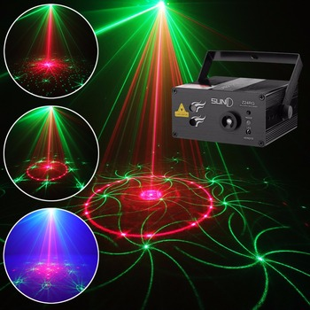 SUNY 24 RG Patterns Laser Light Blue LED Stage Light Sound Activated Gobo Projector Show for Club Bar DJ Disco Home Party(Z24RG)