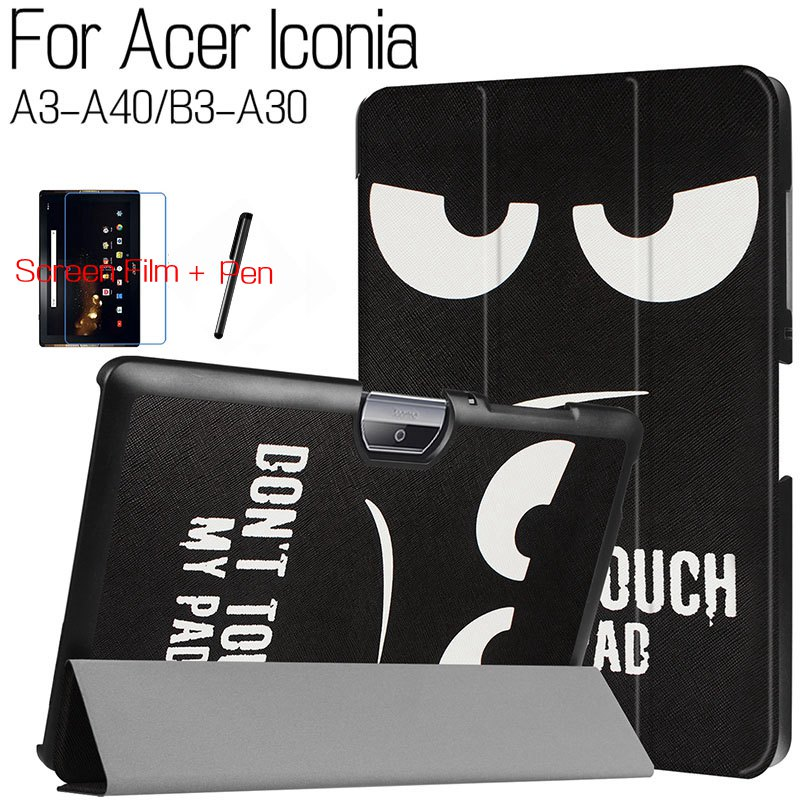 New Colorful Smart PU Leather Cover for Acer Iconia Tab 10 A3-A40 A3 A40/B3 A30 10.1 Tablet Funda Case+Free Screen Film+Pen slim print case for acer iconia tab 10 a3 a40 one 10 b3 a30 10 1 inch tablet pu leather case folding stand cover screen film pen