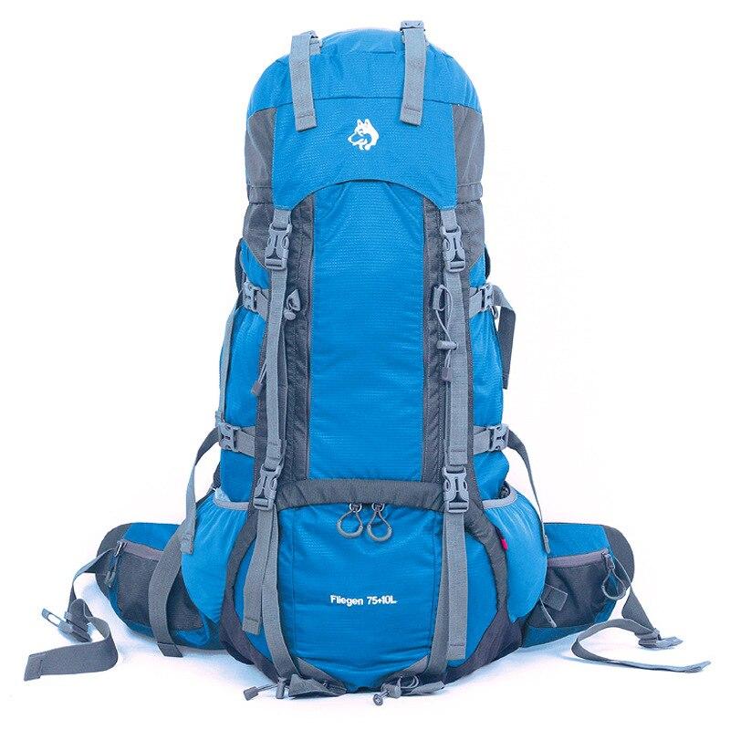 Mochila de deporte de alta calidad para acampar al aire libre, mochila de nylon de alta resistencia al desgaste, con ajuste de 75 + 10 l