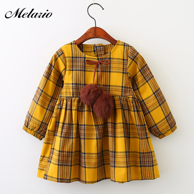 Melario Girls Dress 2017 New Candy Color Long Sleeve Spring and Autumn Dress Plaid Fur Ball Bow Girls O-neck Princess Dress new arrival korean spring autumn and winter girls dress vest dress girls new year dress nigerian dress with hat