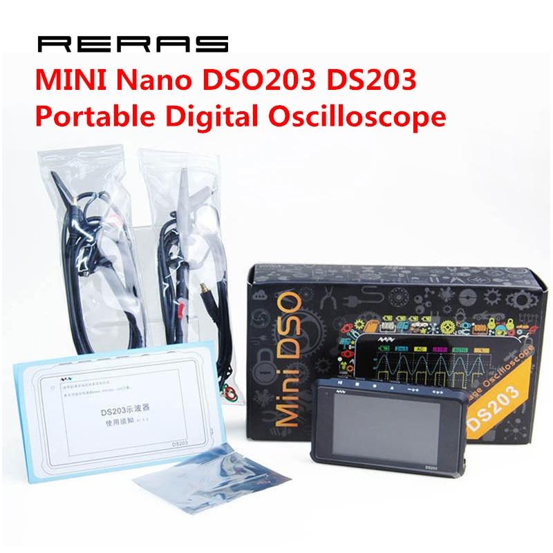 4 canal 72 ms/s MINI Nano DSO203 DS203 Professionnel Portable Numérique Oscilloscope Numérique DSO 203 DS 203 avec X1 & x10 Sonde