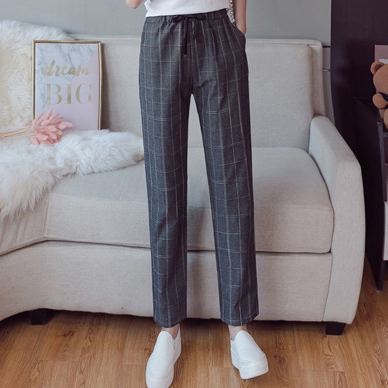 Make English plaid pants female easy to restore ancient ways recreational pants the spring and autumn period and the new female 5