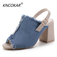 KNCOKAR2018 A flip flops for the summer new style denim and fashion denim jeans with a high heel and sandals
