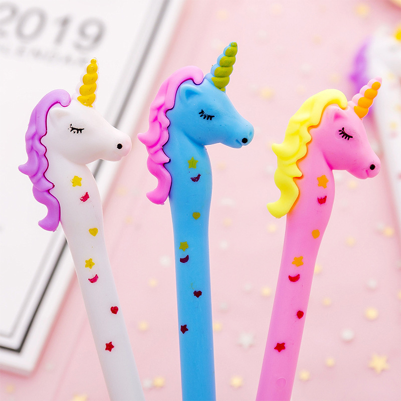 Colorful Unicorn Gel Pen Cute 0.38mm Black Ink Neutral Pen For Kids Gift Stationery Office School Writing Supplies
