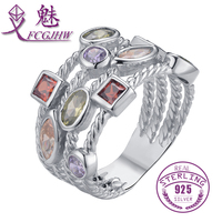 FCGJHW Genuine 925 Sterling Silver Multiple Layers Colorful CZ Stone For Women Ring Fine Jewelry Shiny