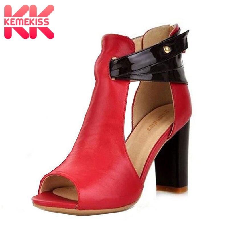 KemeKiss Size 32-43 Women's Real Genuine Leather High Heel Sandals Platform Ladies Gladiator Shoes Summer Platform Sandals R233