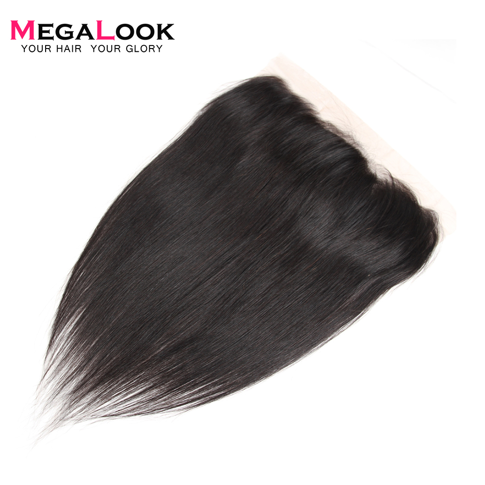 Megalook Lace-Frontal Brazilian Straight-Hair 100%Human-Hair with 10-22inch Remy