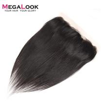 Megalook ישר שיער תחרה פרונטאלית 10 22 אינץ ברזילאי רמי 100% שיער טבעי חזיתי תחרה עם תינוק שיער