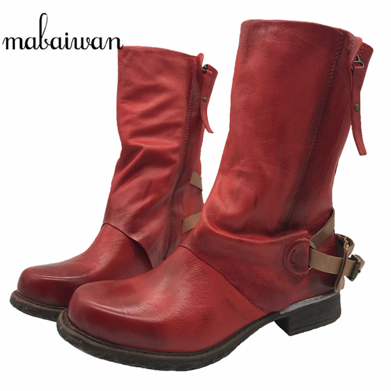 Mabaiwan 2017 Red Women Ankle Boots Vintage Genuine Leather Side Zipper Flat Winter Botas Militares Martin Boots Botines Mujer mabaiwan autumn ladies ankle boots genuine leather iron strange heel bota feminina front zipper botas high heels women pumps