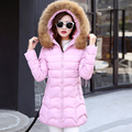 2017 New women down jackets 5 colors cotton long sleeves hooded fur collar manteau femme warm ruched Korean winter women coats