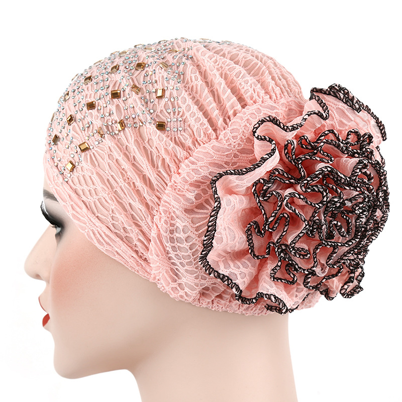 PADEGAO religious ethnic muslim Prayer Hats lace flower wrap cover hat headwear Beanies Indian Style cap Muslim Islamic Hijab in Women 39 s Skullies amp Beanies from Apparel Accessories