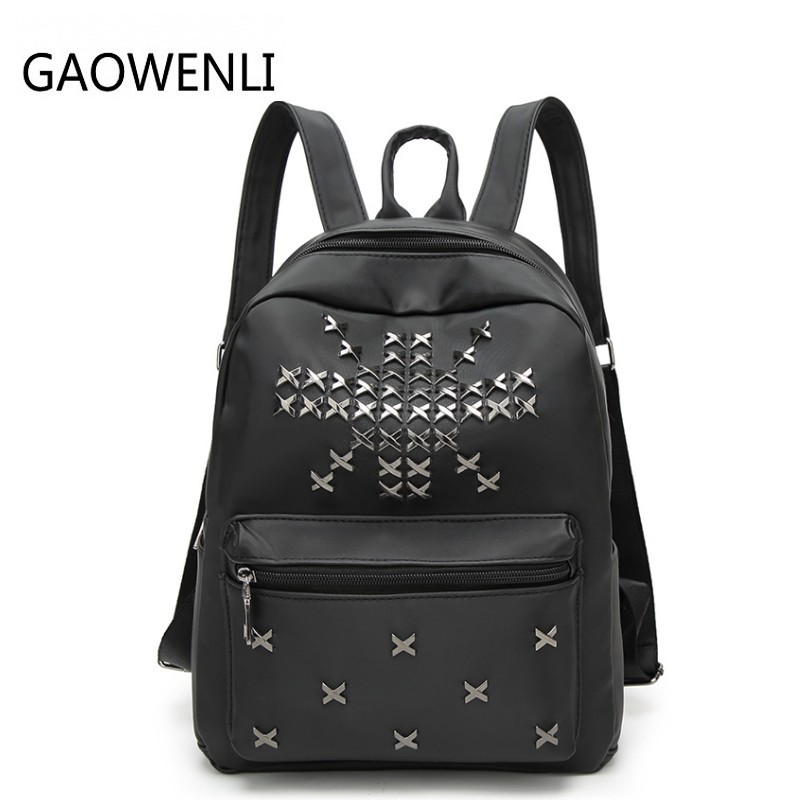 GAOWENLI Fashionable Waterproof Nylon Rivet Leisure Travel Backpack Bags Women Famous Brands Backpacks for Teenage Girls