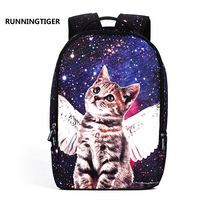 Angel Cat Printed Women Backpack Fashion School Bags For Teenage Girls College Student's Trend Personality Laptop Backpack