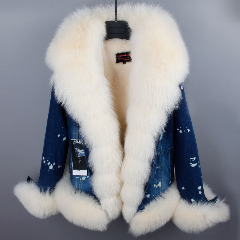 RosEvans 2017 Winter Women's Genuine Fox Fur Collar Denim Jeans Jacket Detachable Fur Thicken Coat Female Clothing B660
