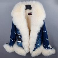 RosEvans 2017 Winter Women's Genuine Fox Fur Collar Denim Jeans Jacket Detachable Fur Thicken Coat Female Clothing B660
