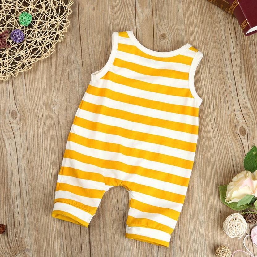 2018 одежда для малышей мальчиков и девочек полосатый комбинезон без рукавов Детские Комбинезоны Одежда удобная и дышащая 5,22