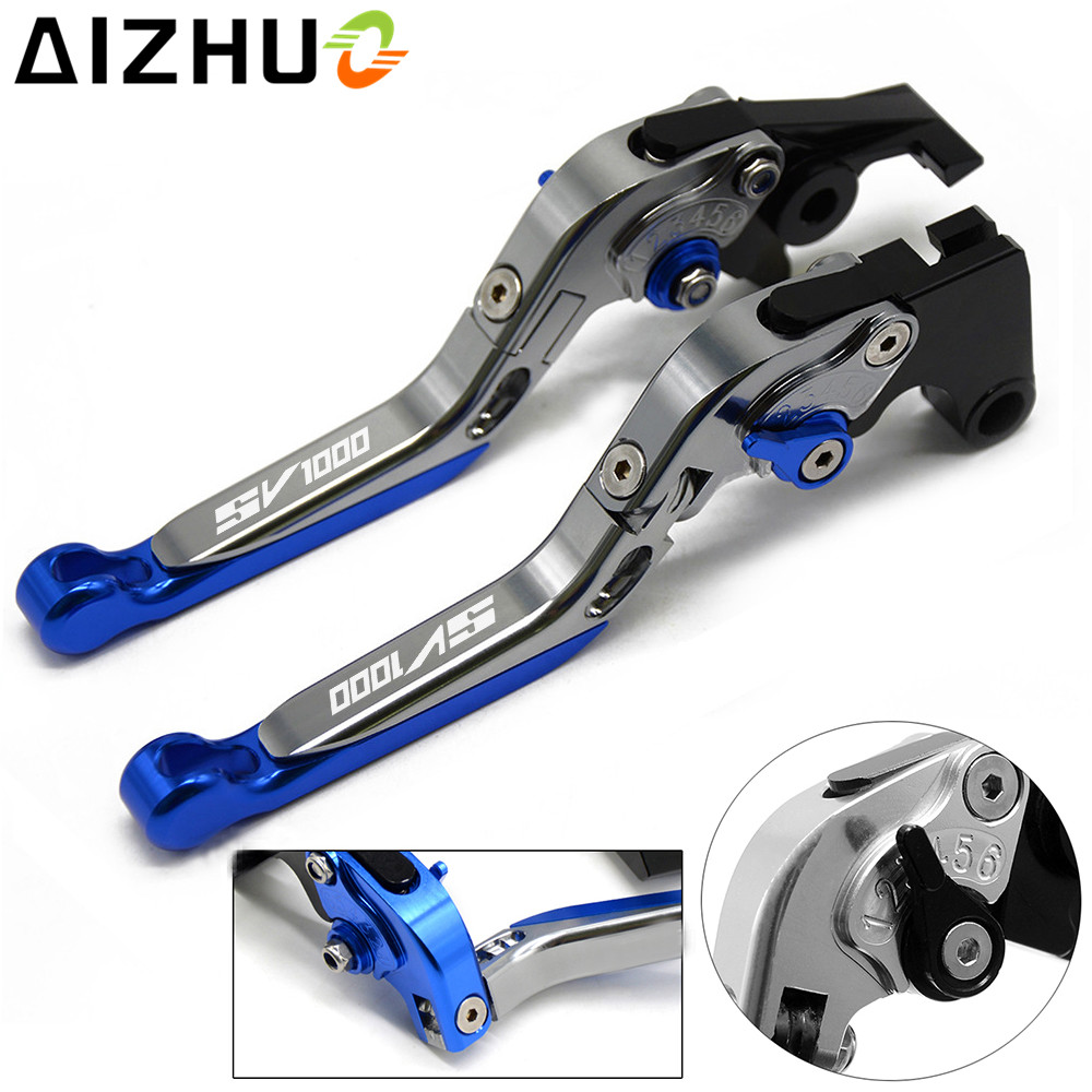 With SV1000 LOGO Motorcycle Clutch Brake Lever Aluminum Extendable Adjustable For Suzuki SV1000 SV1000S SV 1000 2003 2004-2007