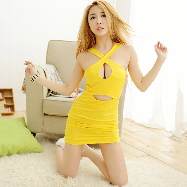 ac9bc3a282e5 Women s Sexy Lingerie Yellow Babydoll Nightdress Nightgown Sleepwear For  Ladies Robe Dresses Wild Girls Cospiay Racing girl