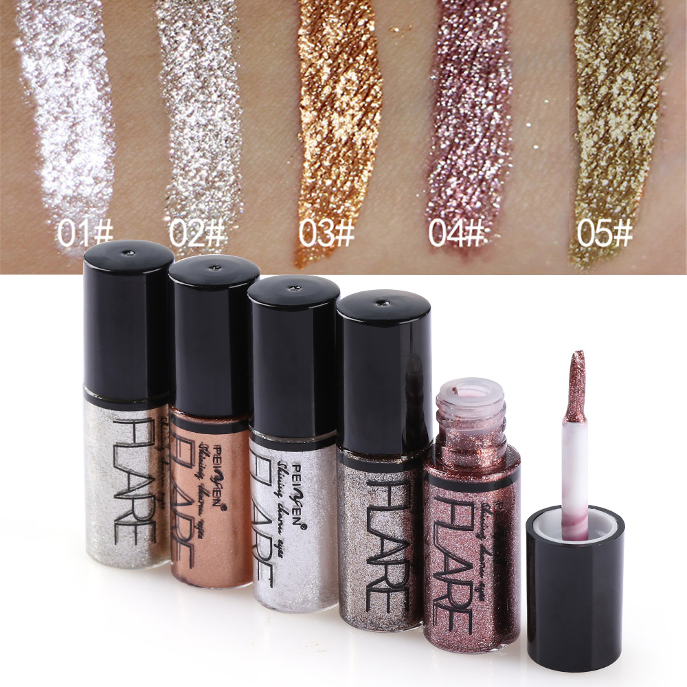 Professional Shiny Eye Liner Pen Cosmetics for Women Silver Rose Gold Color Liquid Glitter Eyeliner Makeup Beauty Tools(China)