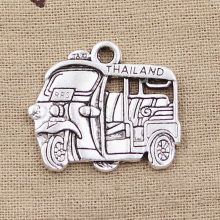 2pcs Charms Thailand Taxi Car Bus 27x33mm Antique Making Pendant fit,Vintage Tibetan Silver color,DIY Handmade Jewelry(China)