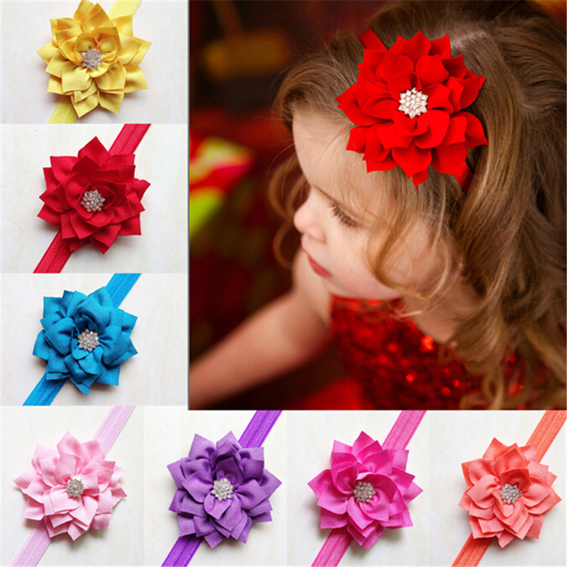 New Kids Girls Candy Colors Fashion Flower Headband Lovely Hair Bow Band Hair Accessories alloy rhinestone bule bow flower butterfly kids headband cute women girls festival hair accessories headdress fashion hair band