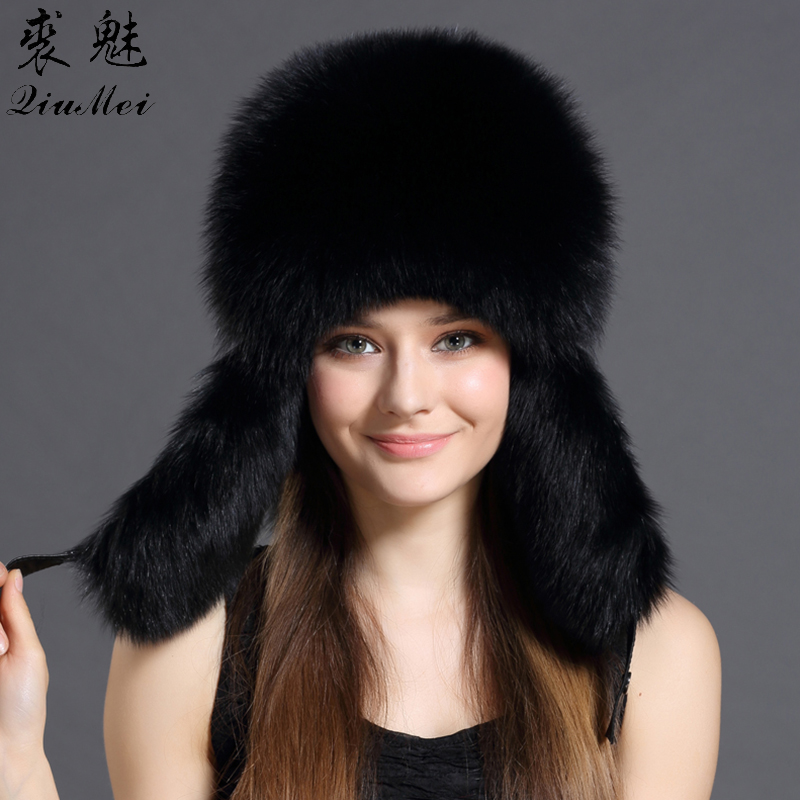 Real Fox Fur Bomber Hats Raccoon Fur Female Real Leather Top Winter Black Gray Traper Caps Headgear Bombers Genuine Fox Fur